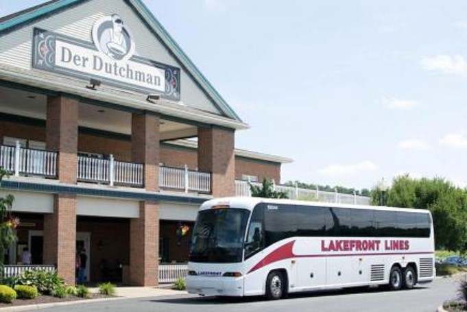 Lakefront Lines Charter Bus Parked in Front of Der Dutchman